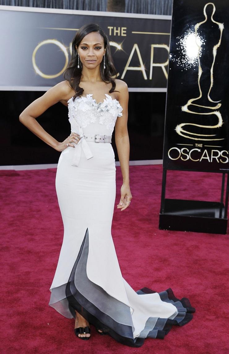 E l'Oscar va a ... 9299 oscars 2013 red carpet zoe saldana in alexis mabille