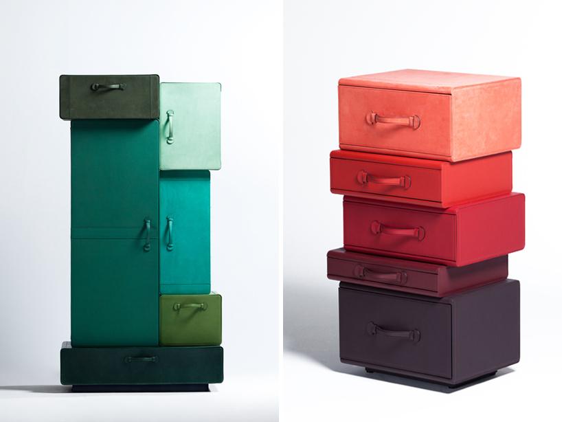 mucchio di valigie prototipi e piccola pila di cartelle  Borse in pelle Maarten Ceulaer per Nilufar maarten de ceulaer nilufar 3