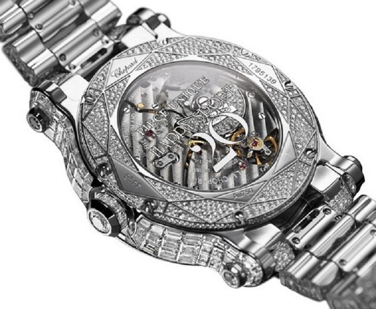Chopard Happy Sport Diamantissimo  Chopard lancia in edizione limitata a Cannes Festival 2013 chopard happy sport diamantissimo watch caseback