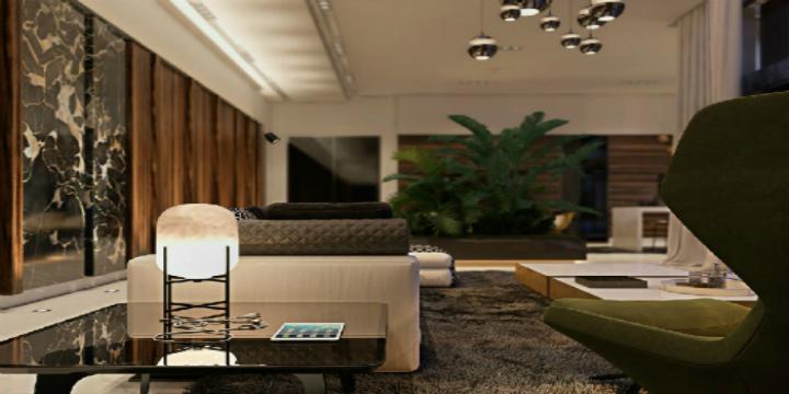 una casa contemporanea in italia con ottone e dettagli di marmo Luceplan